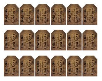 grungy tag set - christmas saying - digital PDF & jpeg - VMGT02 - small tag