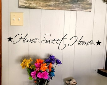 "Wall decal ""Home Sweet Home"" with stars on each side, home decor, wall decor, vinyl decal INDOOR"