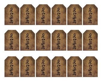 grungy tag set, primitive tags, craft supplies, scrapbooking - october - small - digital PDF & jpeg - OGT03