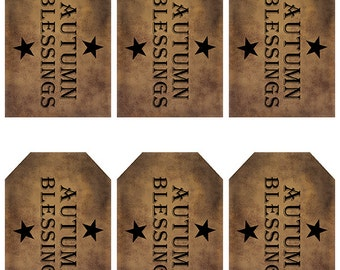 grungy tag set, primitive tags, craft supplies, scrapbooking  - autumn blessings with stars - digital PDF & jpeg - ABGT01