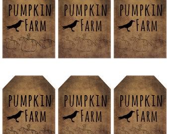 grungy tag set, primitive tags, craft supplies, scrapbooking  - pumpkin farm with crow and pumpkins - digital PDF & jpeg - PFGT02