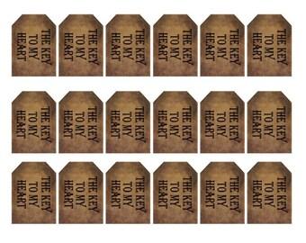 grungy tag set - primitive - the key to my heart - digital PDF & jpeg - KHGT03 - small