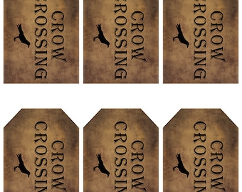 grungy tag set, primitive tags, craft supplies, scrapbooking  - crow crossing with crow - digital PDF & jpeg - CCGT01