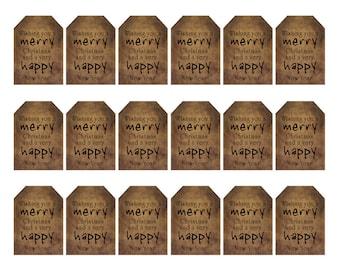 grungy tag set, primitive tags, craft supplies, scrapbooking - christmas & new year - digital PDF and jpeg - CNYGT02 - small tag