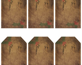 grungy tag set, craft supplies, primitive tag, hang tag, scrapbooking - Gift Tags with Holly Leaves - digital PDF and jpeg - HGT01