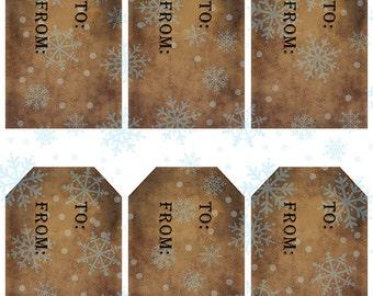 grungy tag set, craft supplies, primitive tag, hang tag, scrapbooking - Gift Tags with Snowflakes - digital PDF and jpeg - SGT01