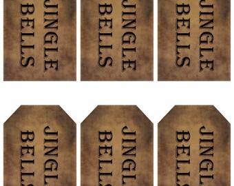 grungy tag set - jingle bells - digital PDF & jpeg - JBGT02