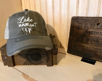Lake Hair Don't Care Worn Hat, rustic, rugged, worn, nautical, outdoors, lake
