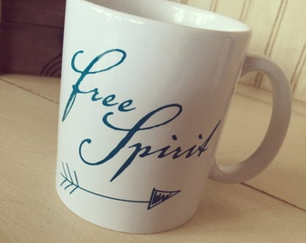 Free spirit ceramic coffee mug, coffee lovers, boho, teal