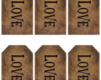 grungy tag set - love with hearts - digital PDF & jpeg - LGT03