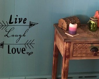 "Wall decal ""live laugh love"" with arrows and heart, home decor, wall decor, vinyl decal INDOOR"