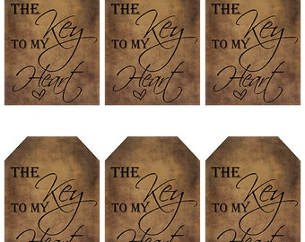 grungy tag set, wedding favors, valentines day, supplies, printables - primitive - the key to my heart  - digital PDF & jpeg - KHGT06