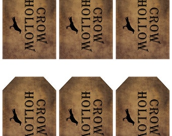 grungy tag set, primitive tags, craft supplies, scrapbooking  - crow hollow with crow - digital PDF & jpeg - CHGT01