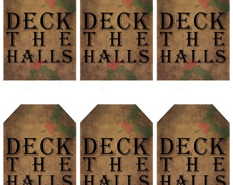 grungy tag set, craft supplies, primitive tag, hang tag, scrapbooking - Deck the Halls with holly leaves - digital PDF and jpeg - DHGT02