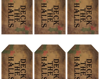 grungy tag set, craft supplies, primitive tag, hang tag, scrapbooking - Deck the Halls with holly leaves - digital PDF and jpeg - DHGT01