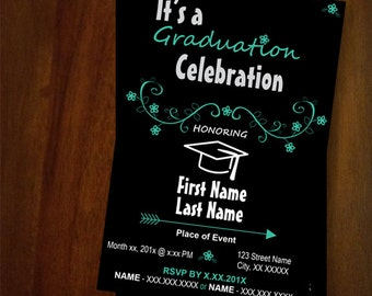 Graduation Invitations, simple, black, white, party, arrow and flowers, leaves, event, printable invitation, digital file  - GI01