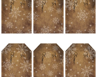 grungy tag set, craft supplies, primitive tag, hang tag, scrapbooking - Gift Tags with Snowflakes - white - digital PDF and jpeg - SGT04