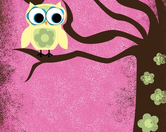 whimsical wall art - owl and tree with flowers and grungy border