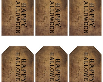 grungy tag set, primitive tags, craft supplies, scrapbooking - happy halloween with pumpkins - digital PDF and jpeg - HHGT01