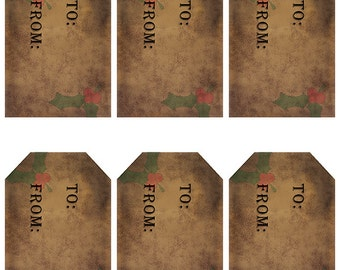 grungy tag set, craft supplies, primitive tag, hang tag, scrapbooking - Gift Tags with Holly Leaves - digital PDF and jpeg - HGT02