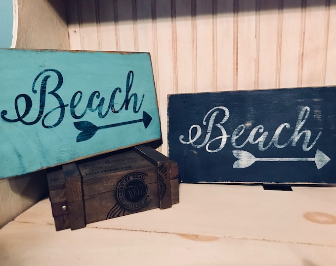 Featured listing image: Beach Sign,  handmade wooden distressed sign, rustic, country, hand painted, indoor, nautical, aqua