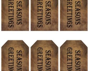 grungy tag set - seasons greetings - digital PDF & jpeg - SSGT01