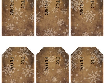 grungy tag set, craft supplies, primitive tag, hang tag, scrapbooking - Gift Tags with Snowflakes - white - digital PDF and jpeg - SGT03