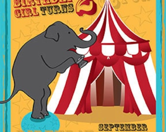 Circus theme birthday invitation, elephant & circus tent, birthday party, event, printable invitation, digital file  - CBI01