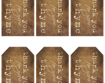grungy tag set - thank you for your thyme - craft supplies, craft tags, scrapbooking, printables, primitive, digital PDF & jpeg - TYGT01