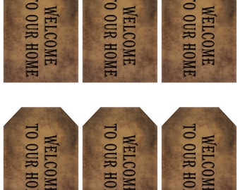 grungy tag set - welcome to our home - digital PDF & jpeg - WHGT01