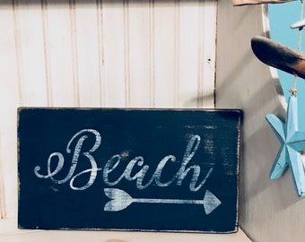 Beach Sign,  handmade wooden distressed sign, rustic, country, hand painted, indoor, nautical, navy