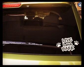 "Car decals ""Live Love Bark"" with paw prints or bones, vinyl, vehicle vinyl, vinyl decal, sticker, OUTDOOR"