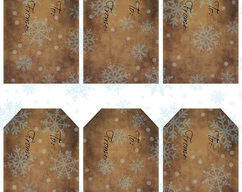 grungy tag set, craft supplies, primitive tag, hang tag, scrapbooking - Gift Tags with Snowflakes - digital PDF and jpeg - SGT02