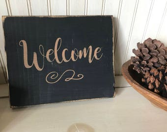 Welcome Sign, small handmade wooden distressed sign, rustic, country, hand painted, indoor