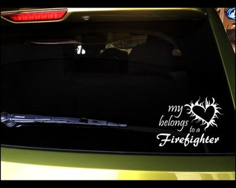 """Car decals """"My heart belongs to a Firefighter"""" with heart and flames, vinyl, vehicle vinyl, vinyl decal, sticker, OUTDOOR"""