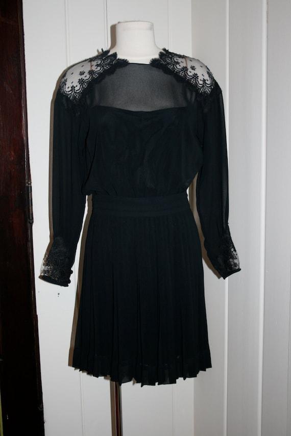 vintage albert nipon black pleats and lace dress