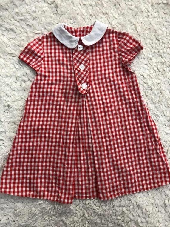 Vintage 50s red gingham dress