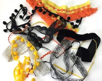 """Halloween Trim """"Scrap"""" Pack / 4 yds / Junk Journaling / Art Journaling / CardMaking / Mixed Media / Collage"""