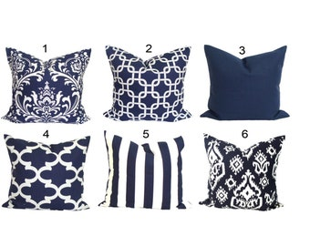 Blue Pillow Covers, Blue Throw Pillow Cover, Blue Decorative Pillow Cover, Navy Blue Pillow Covers, Navy Blue Cushion Covers