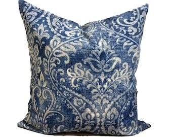 Blue Damask Pillow Covers, Indigo Blue Pillow Cover, Blue Ikat Pillow Covers