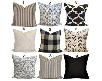Black Pillow Covers, Black Decorative Pillow Covers, Black Tan Pillow Covers, Black Throw Pillow Cover. Black Ivory Pillow