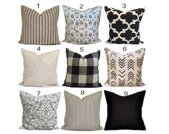 Black Throw Pillows, Black Tan Pillow COVERS, Farmhouse Pillow Covers, Black Tan Pillows