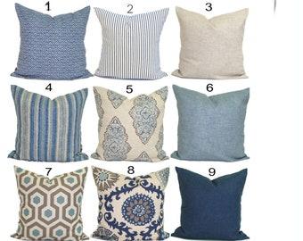 Blue Tan Pillow, Blue Pillow Cover, Cushion Cover, Decorative Pillow