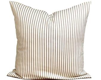 Brown Ticking Pillow, Farmhouse Decor, Farmhouse Pillow COVER, BROWN Ticking Pillow Cover
