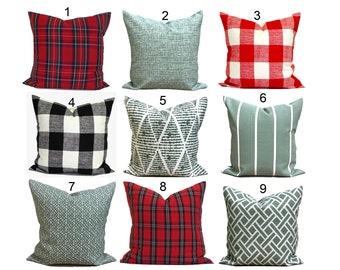 OUTDOOR CHRISTMAS Pillow Covers, Outdoor Farmhouse Christmas Pillow,  Red Green Tartan Plaid Pillow Cover