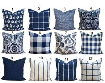Blue Farmhouse Pillow COVERS. Blue Farmhouse Decor, Blue Pillow Cover, Blue Euro Sham, All Sizes