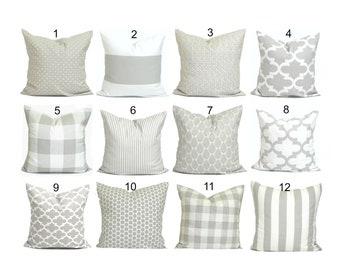 PILLOWS, Decorative Pillow, Throw Pillow, Accent Pillow, Couch Pillow, Gray  Pillow. French Farmhouse Decor, Light Grey, Cushion, Neutral.cm