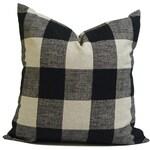 "FARMHOUSE PILLOW Cover for a 16"" Pillow Form BLACK Tan Throw Pillow, Pillow Cover, Plaid Pillow, Buffalo. Buffalo Plaid. Farmhouse Decor"