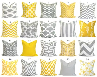 Fine Yellow Pillow Cover Gray Pillow Cover Pillow Covers For Etsy Andrewgaddart Wooden Chair Designs For Living Room Andrewgaddartcom