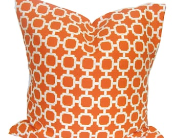 Orange Outdoor Pillow Cover Set Of Two For 20 18 Or 16 Inch Etsy